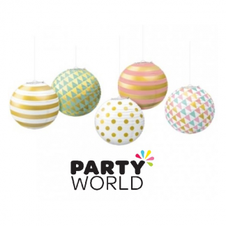 Pastel Mini Paper Lanterns With Metal Frames (5)