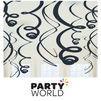 Swirls Jet Black Decorations (12)