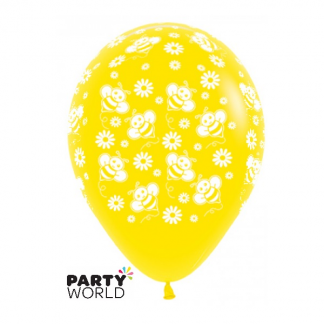 Bumble Bee Latex Balloons Yellow (6)