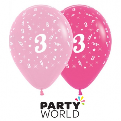 3rd Birthday Pink Asstd Latex Balloons (6)