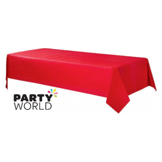 Rectangular Red Plastic Table Cover