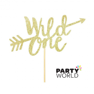 Wild One Gold Glitter Cake Topper