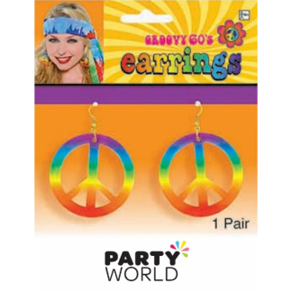 Tie Dye 60's Peace Sign Earrings