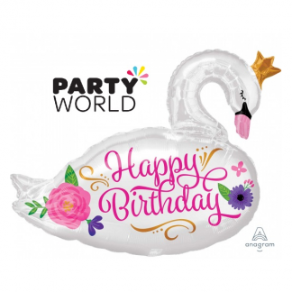 Happy Birthday Beautiful Swan Supershape Foil Balloon