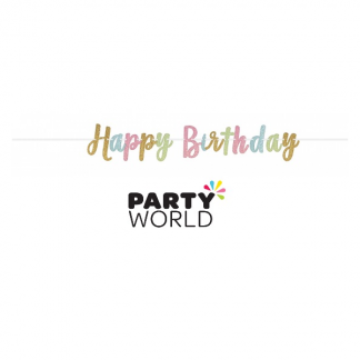 Happy Birthday Gold & Pastel Glitter Banner