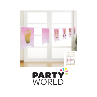 Foiled Pink Baby Shower Paper Bunting