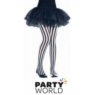Pirate Vertical Stripe Black & White Tights Child Size