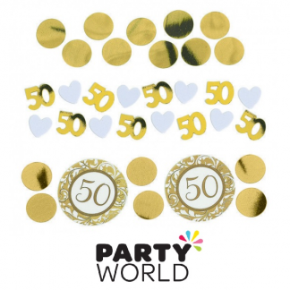 Golden 50th Anniversary Table Scatters