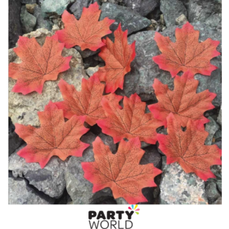 Artificial Silk Autumn Leaves - Orange & Red (50)
