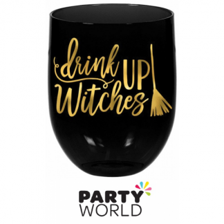 Drink Up Witches Stemless Plastic Wine Glass 449ml