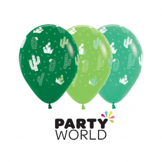 Cactus Print Green Latex Balloons (12)
