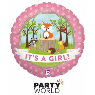 Woodland Baby Its A Girl Foil Balloon