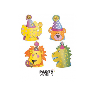 Animal Party Hats (4) - Lion, Bear, Dinosaur, Elephant