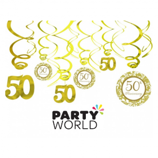 50th Golden Wedding Anniversary Swirl Decorations
