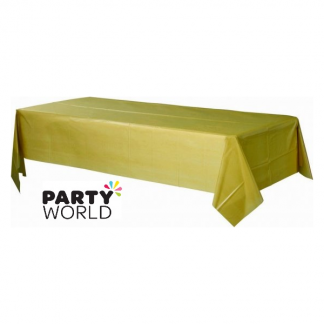 Rectangular Gold Plastic Table Cover