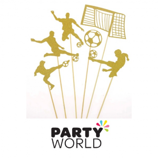 Soccer Party Gold Glitter Cake Toppers