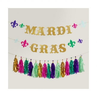 Mardi Gras Party Garland With Tassels