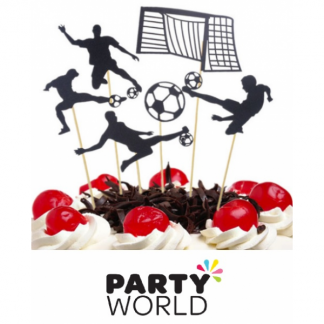 Soccer Party Black Glitter Cake Toppers