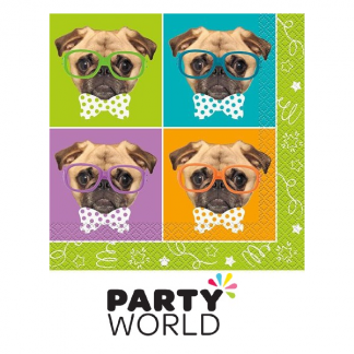 Pug Puppy Birthday Luncheon Napkins (16)