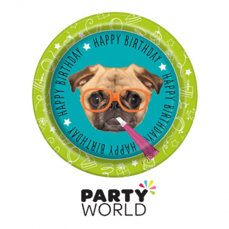 Pug Puppy Birthday 9in Paper Plates (8)
