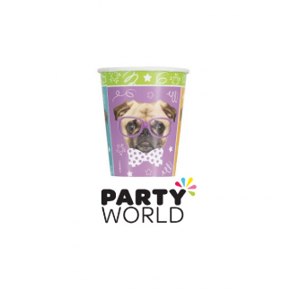 Pug Puppy Birthday 9oz Paper Cups (8)