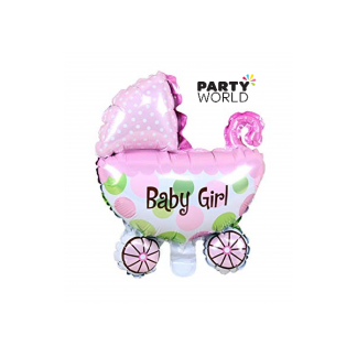 Baby Girl Foil Balloon Giant Pram / Stroller Shape