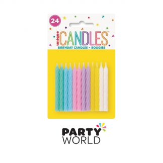 Candles Spiral Pastel Assorted (24)