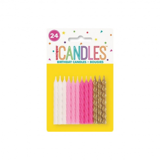 Candles Spiral Pink & Assorted (24)