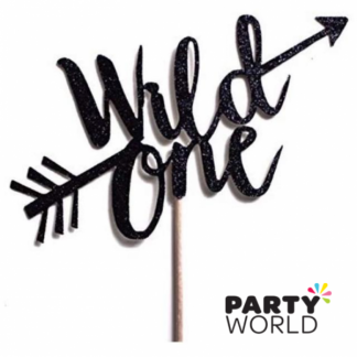 Wild One Black Glitter Cake Topper