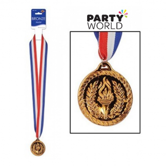 Bronze Sports Medal And Ribbon