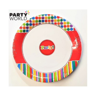Red Pattern Party Plates 9in (6pk)