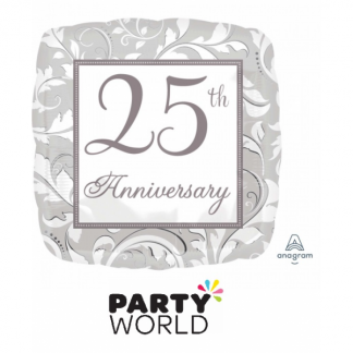 25th Anniversary Silver Foil Balloon