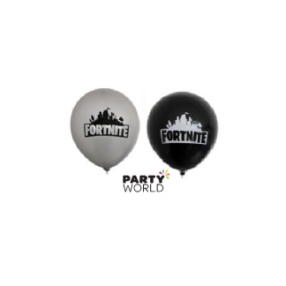 Fortnite Party Latex Balloons Black & Silver (6)