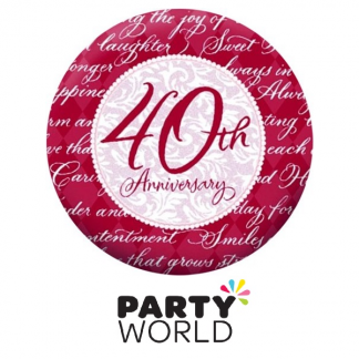 40th Ruby Wedding Anniversary Paper Plates 10in (8)