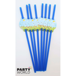 Blue Flexible Elephant Straws (8)