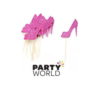 Pink Glitter High Heel Cake Picks (6)