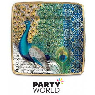 Peacock Design Square Paper Plates (8)