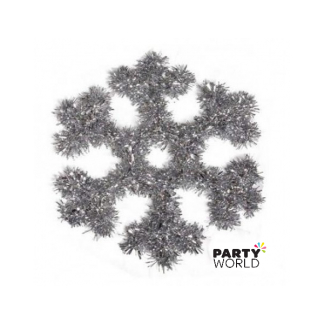 Hanging Tinsel Snowflake Decoration 30cm