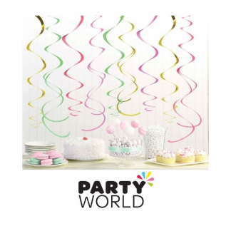 Pastel Colours & Gold Foil Swirl Decorations (12)