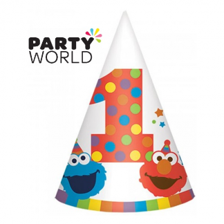 Elmo Turns One Birthday Cone Hats (8)