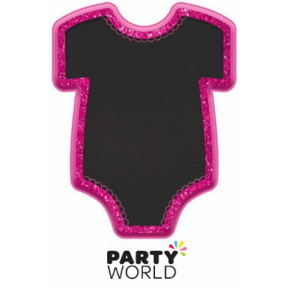Baby Girl Bodysuit Shaped MDF Glittered Easel