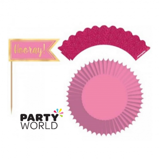 Pink Glitter Hooray! Cupcake Kit