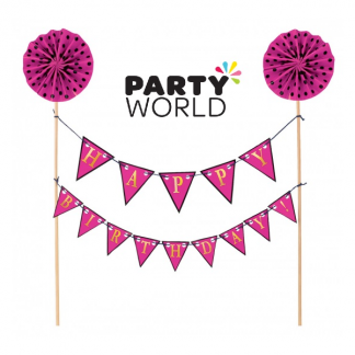 Cake Topper Happy Birthday Pink Banner
