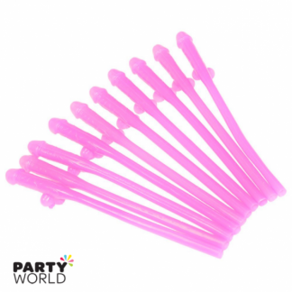Light Pink Penis Straws (10)