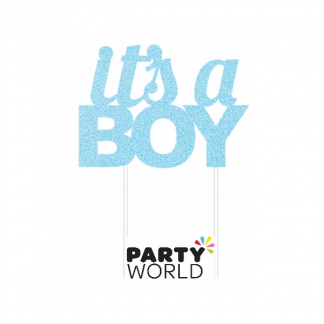 Its A Boy Blue Glitter Cake Topper