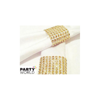 Gold Diamante Effect Napkin Holders (10)