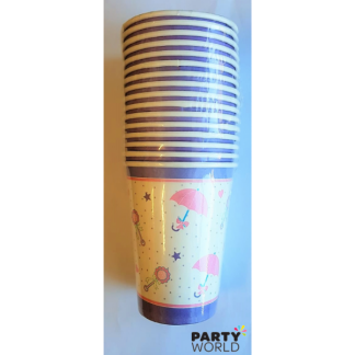 Pink Baby Shower Umbrellas Paper Cups Value Pack (16)