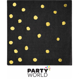 Black Velvet & Gold Dots Beverage Napkins (16)