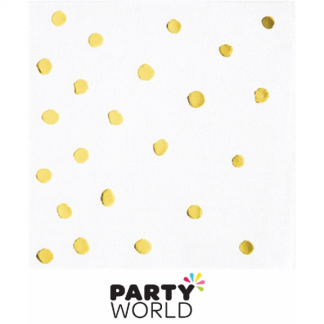 White & Gold Foil Dots Beverage Napkins (16)