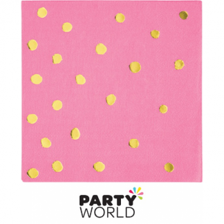 Candy Pink & Gold Foil Dots Beverage Napkins (16)